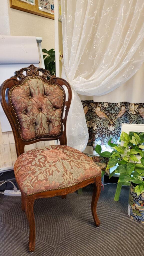 椅子の生地張替、モリス、ハニーサクル&チューリップ